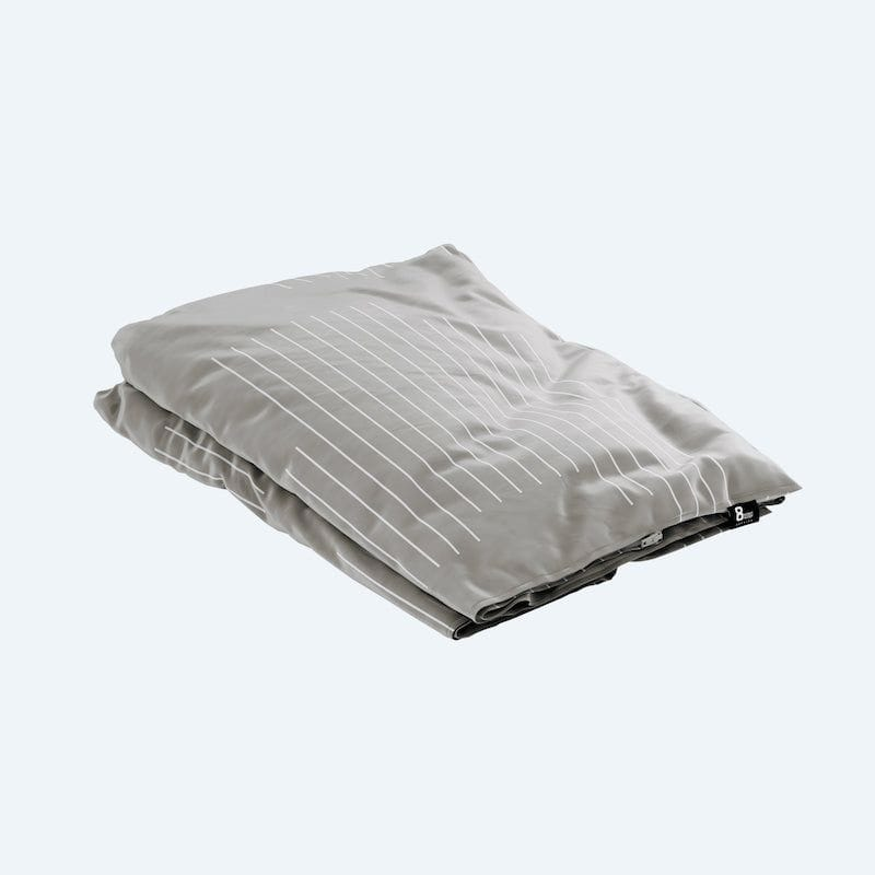 Eight Sleep branded Gravity Blanket grey angled view